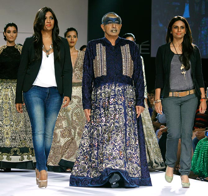 Astaad Deboo with designers Monica Shah and Karishma Swali.
