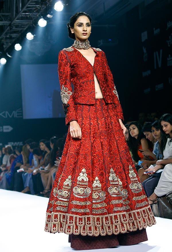 Model Meenakshi Khari in Jade by Monica Shah and Karishma Swali.