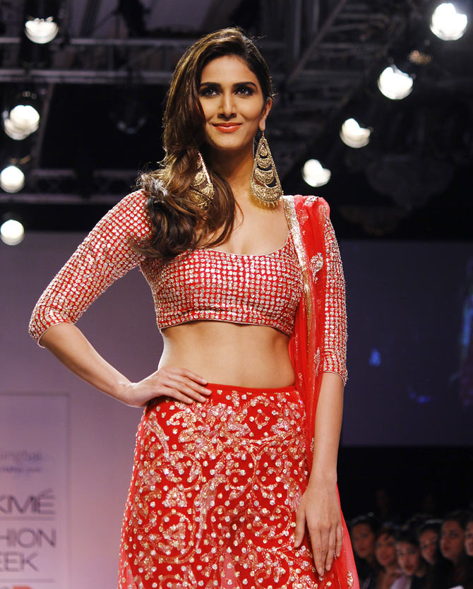 Vaani Kapoor showstops for Payal Singhal at Lakme Fashion Week Winter/ Festive 2014.