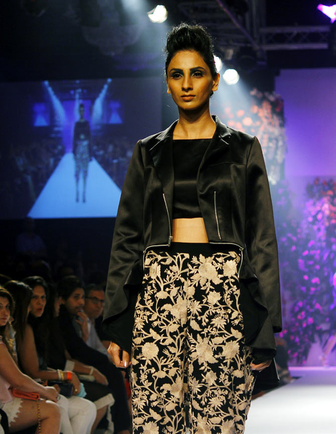 A model walks the ramp for Varun Bahl