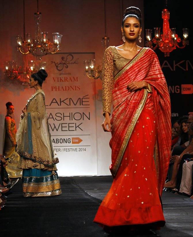 Dayana Erappa in a Vikram Phadnis creation.