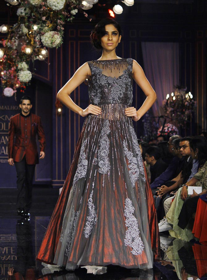 A model walks the ramp for Manish Malhotra