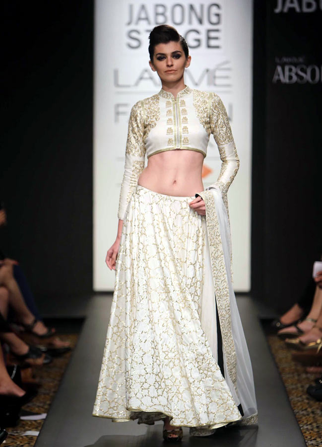 A model showcases a creation by Sonam and Paras Modi.