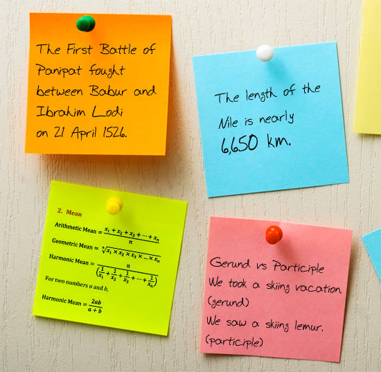 Make use of post it notes or flash cards to memorise key information and facts