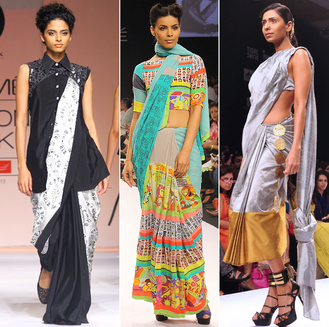 You can drape the saree differently and team it with quirky accessories to complete the look