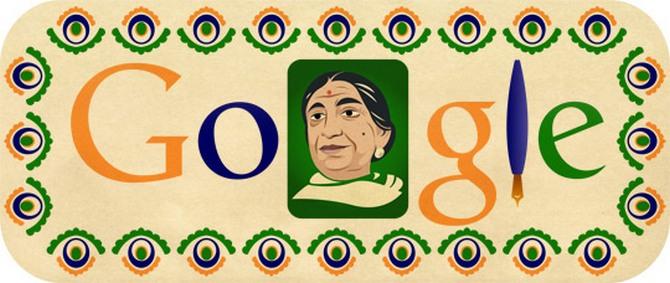 Google India's homepage on February 13 features a doodle of Sarojini Naidu