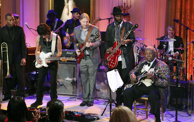 From left, Troy 'Trombone Shorty' Andrews, Jeff Beck , Derek Trucks, Gary Clark Jr and BB King perform at the White House for Black History Month, February 21, 2012.