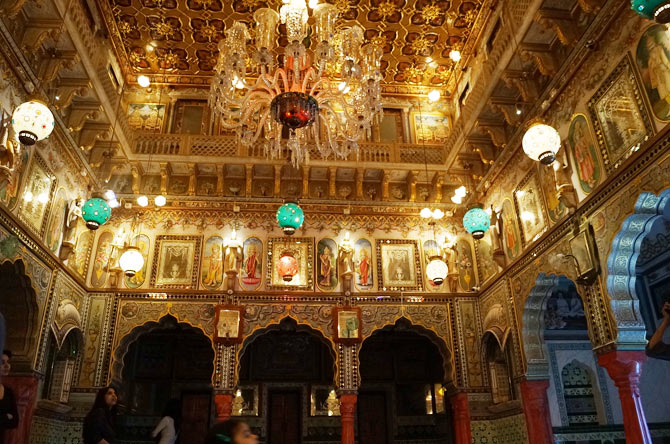 Opulence inside the Jain temple