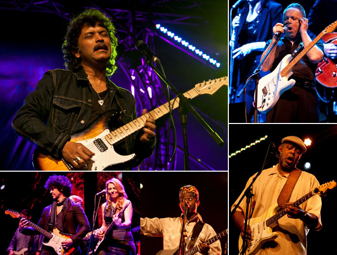 (Clockwise from top left) Soulmate's Rudy Wallang, Jimmie Ray Vaughan, Zac Harmon, Li'l Ed and, Susan Tedeschi and Doyle Bramhall II in concert at the Mahindra Blues Festival, Mumbai, February 15 and 16.