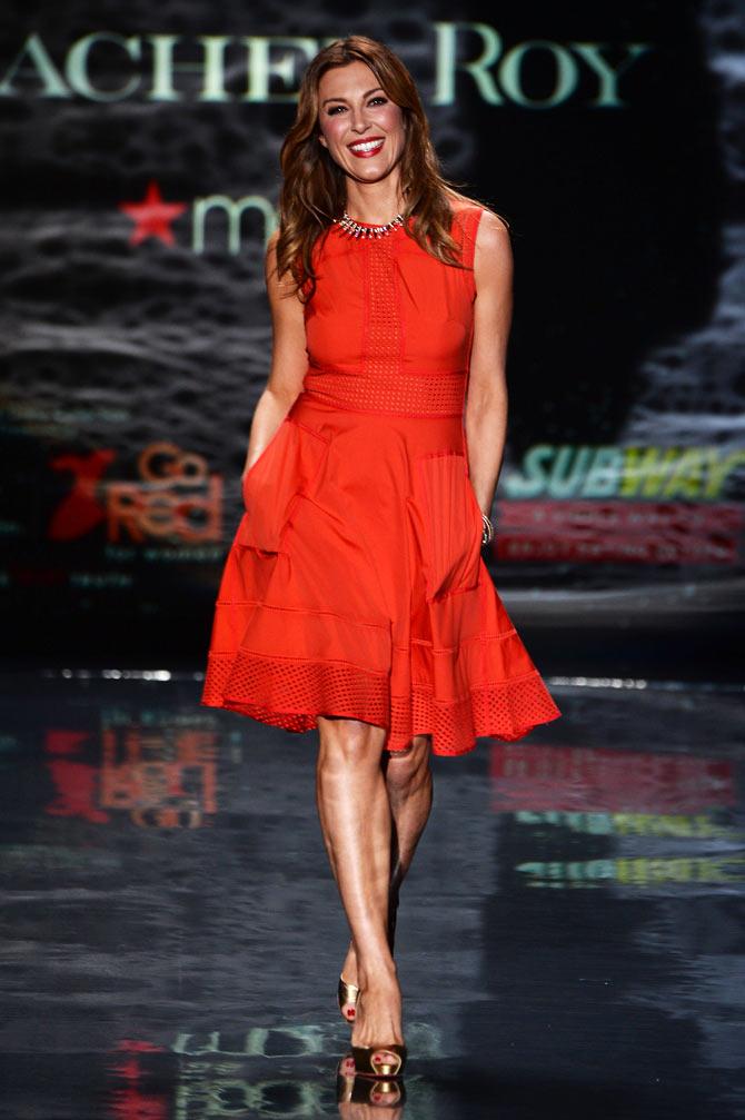 Thea Andrews walks the runway in a Rachel Roy creation.