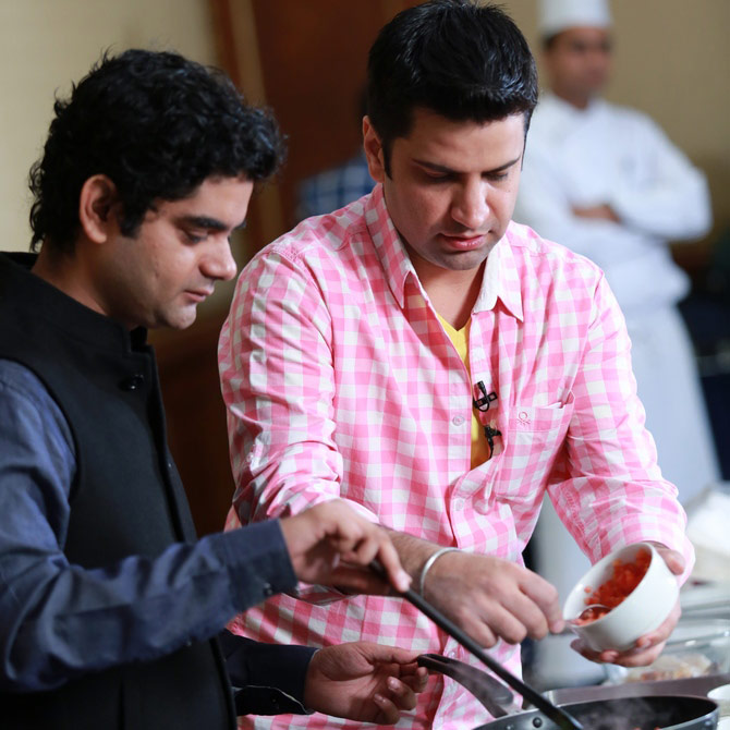 Chef Kapur with movie critic Mayank Shekhar at the launch of his cookbook in Mumbai.