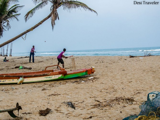Beach cricket at Pondicherry