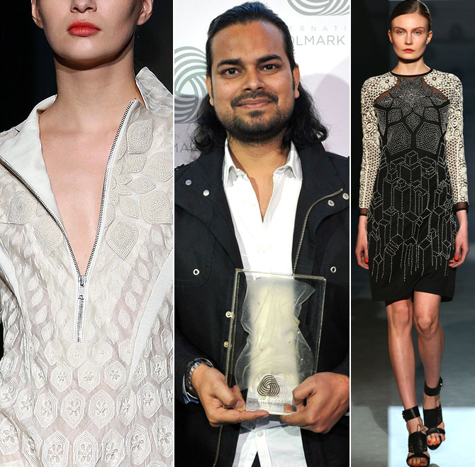 Fashion designer Rahul Mishra with his award during the International Woolmark Prize as part of Milan Fashion Week Womenswear Autumn/Winter 2014 on February 21, 2014 in Milan, Italy.