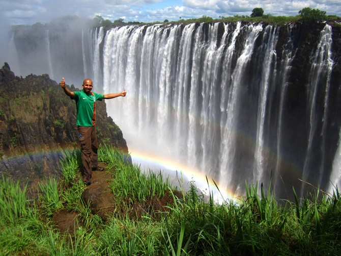 Double rainbow for an awesome 2013. At Victoria Falls, Zambia