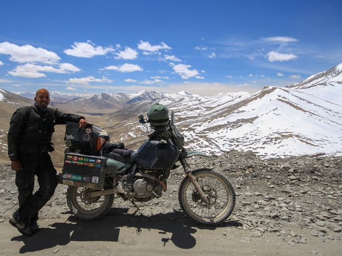 Riding the Manali-Leh Highway. Near Tangala Pass at 5,350 m (17,548 ft).