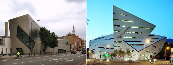 From left: Graduate Centre of London Metropolitan University and the Run Run Shaw Creative Media Centre in Hong Kong