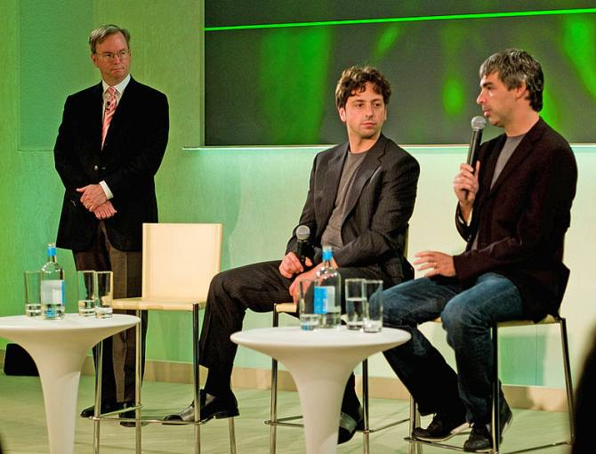 From left: Google's Eric Schmidt, Sergey Brin and Larry Page.