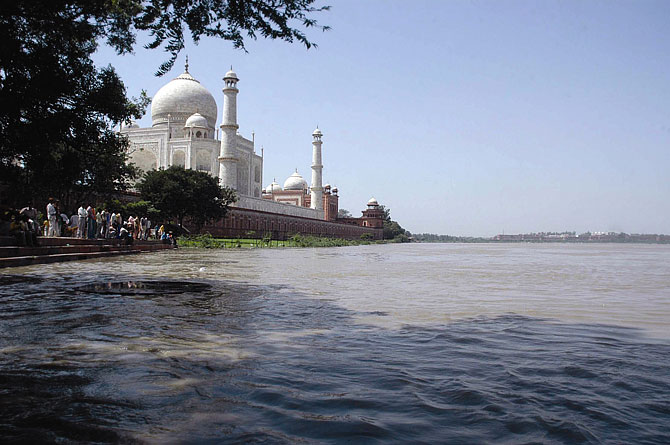 The Taj Mahal, Agra, stands on the banks of the Yamuna.
