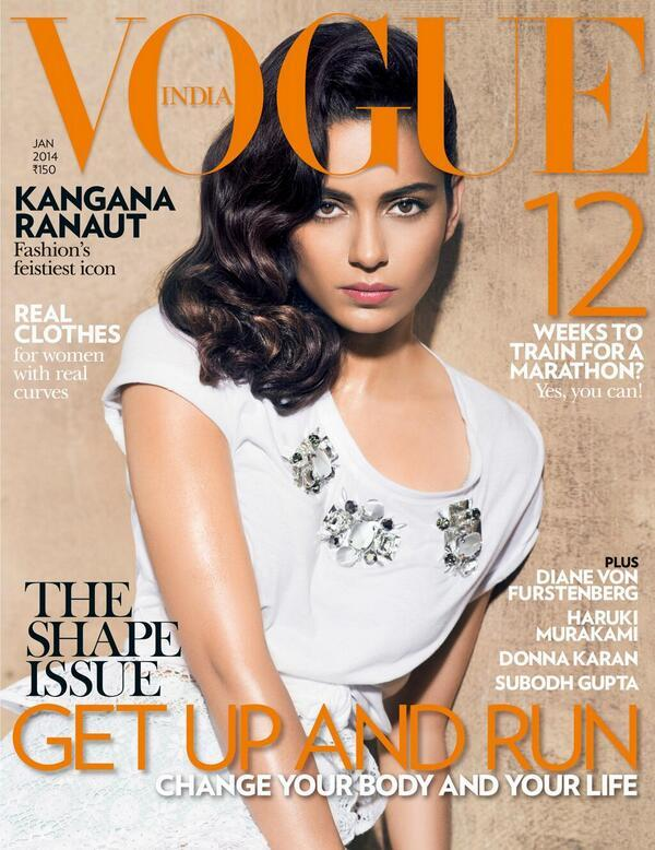 From a gawky misfit to a Vogue cover girl, Kangana Ranaut has come a long way. She is seen here on the latest cover of the fashion Bible