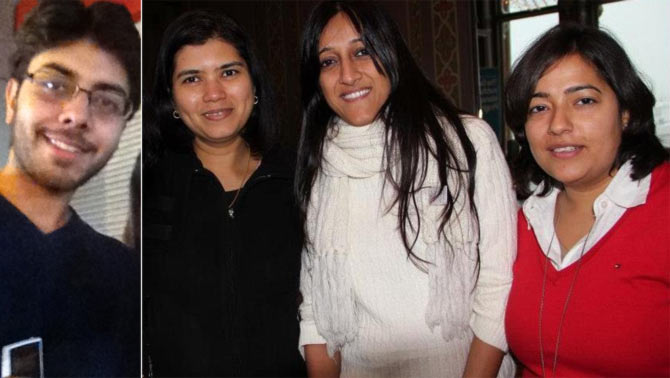 A collage of the co-founders of SafeCity.in. From left: Aditya Kapoor, Elsa D'Silva, Surya Velamuri and Saloni Malhotra