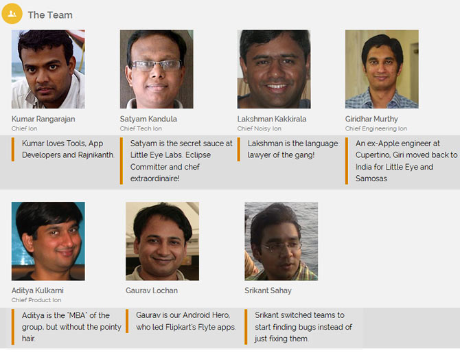 A collage of co-founders of Little Eye labs, the first Indian tech company to be taken over by Facebook.