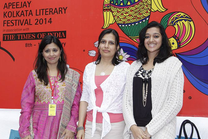 (L-R) Amrita Chowdhury, Shoma Narayanan and Moubani Sorcar at the Apeejay Literary Festival.