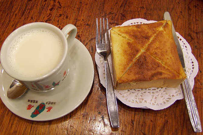 Warm milk with toast