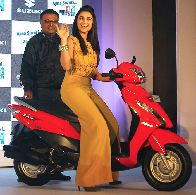 Parineeta Chopra riding the Suzuki Let's on to the stage during the launch of the bike in January.