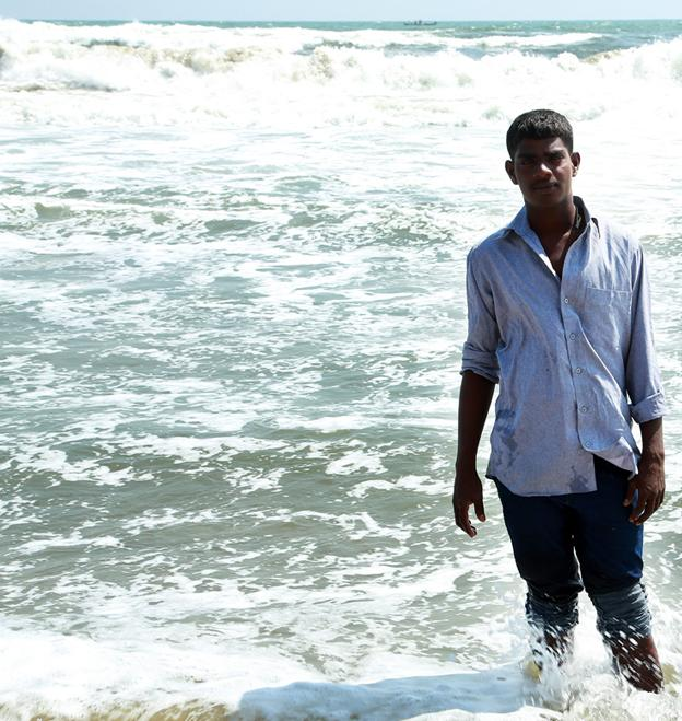 Venkatesh at the Marina Beach in Chennai.