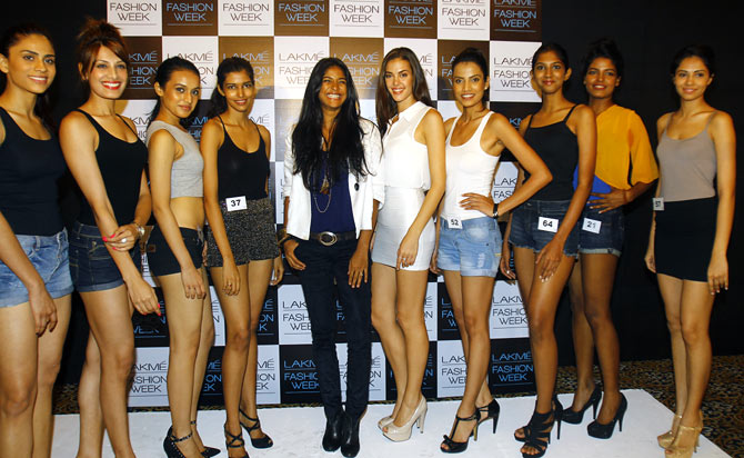 The nine finalists pose with Carol Gracias (in the centre) at the end of the auditions in Mumbai.
