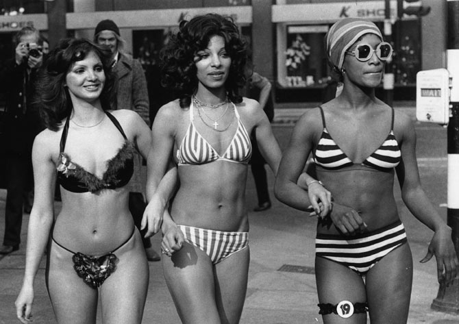 Three women model bikinis in a London high street. (Picture used here for representational purpose only.)