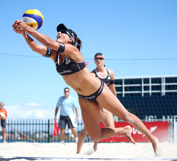 Ilka Semmler of Germany dives for the ball during day two of the FIVB Stavanger Grand Slam at Stavanger Vage, Stavanger, Norway.