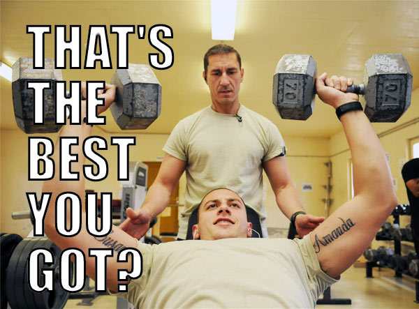 At the college gym, you think you look like this