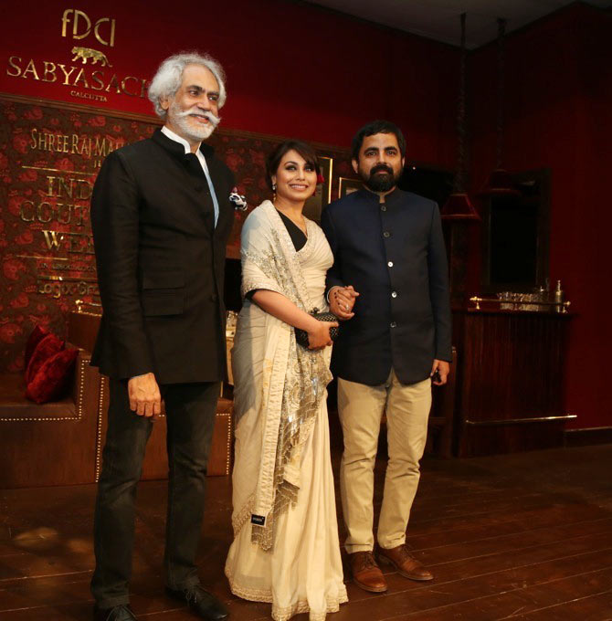 Sunil Sethi of FDCI with Rani Mukerji and Sabyasachi Mukherjee at the India Couture Week