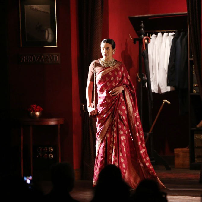 Pia Trivedi presents a design by Sabyasachi Mukherjee at India Couture Week.