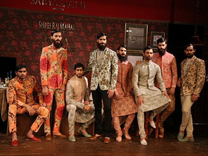 Models present designs by Sabyasachi Mukherjee at India Couture Week.
