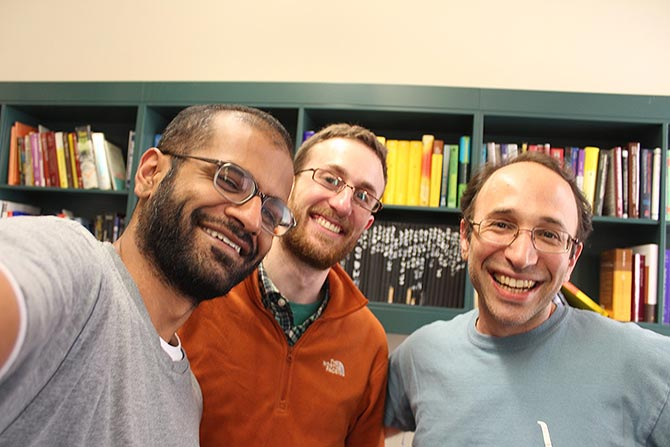 From left, Nikhil Srivastava with Adam W Marcus and Daniel A Spielman on the day they finished writing the proof last year.