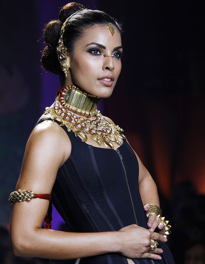 Deepti Gujral walks the runway at the India International Jewellery Week.