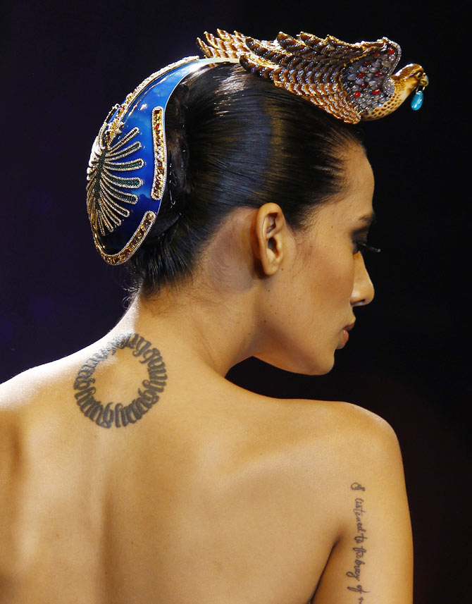 Sony Kaur walks the runway at the India International Jewellery Week.