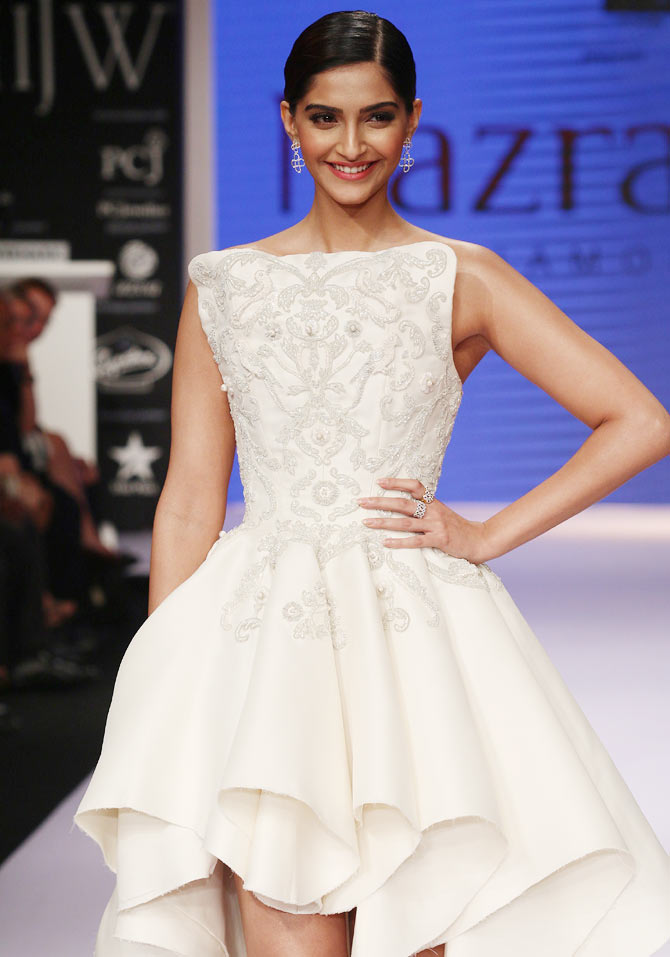 Sonam Kapoor walks the runway at the India International Jewellery Week.