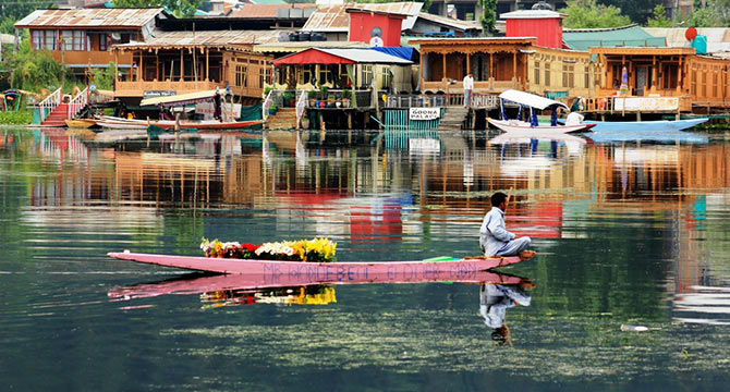 The flower seller, Dal Lake, Kashmir