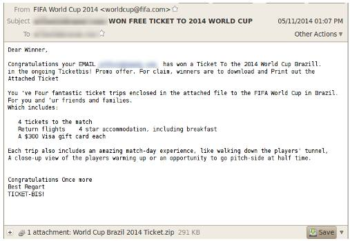 Scam email offers free tickets to 2014 World Cup in Brazil