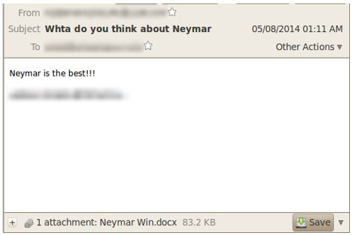 Scam email with malicious attachment targeting fans of Brazilian star Neymar