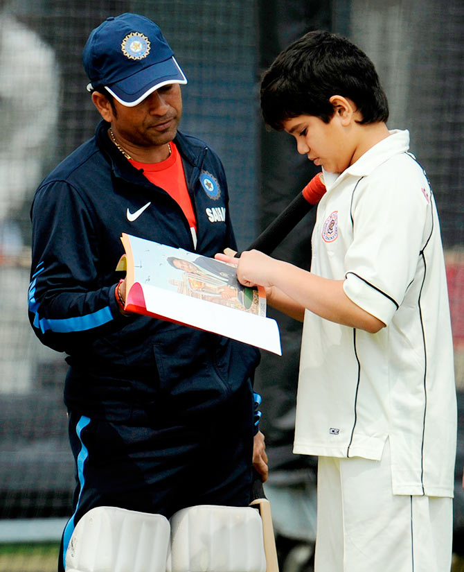 Sachin Tendulkar with son Arjun