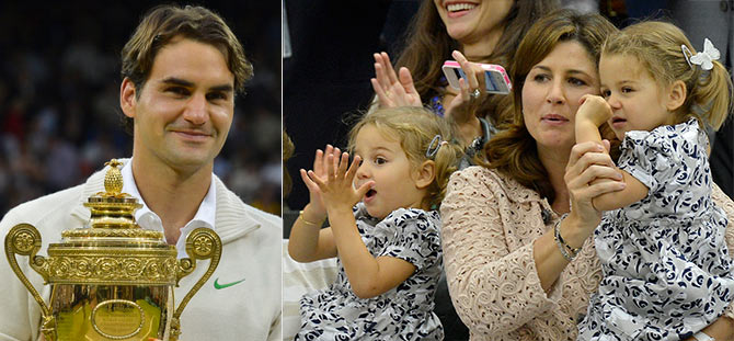 Roger Federer (left) and (right) Mirka Federer with their twins Charlene Riva and Myla Rose