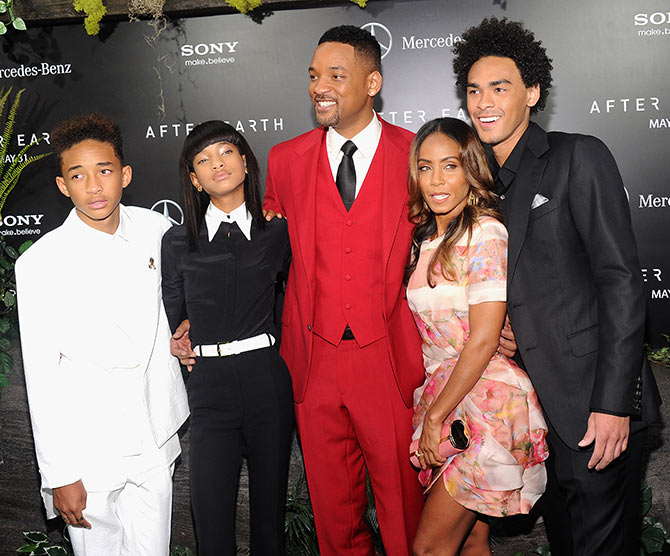 (L-R) Jaden, Willow, Will Smith, Jada Pinkett and Trey