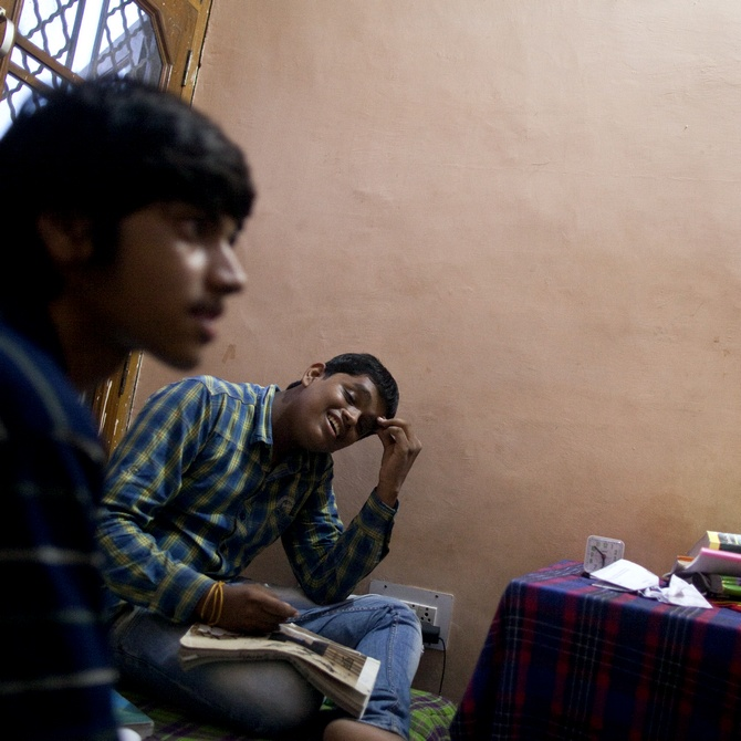 A student studies inside his room in a paying guest house in Kota, Rajasthan. (Picture used here for representational purposes only)