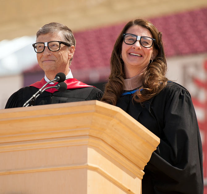 Bill and Melinda Gates wore 'nerd' glasses to prove a point.