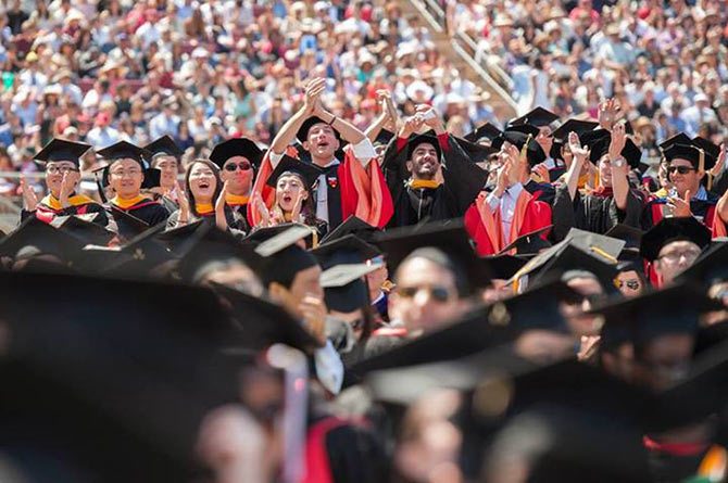 Graduates at the commencement ceremony at Stanford University.