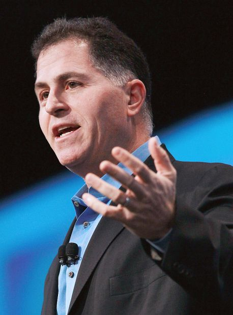 Dell CEO Michael Dell delivers a keynote address during the 2010 Oracle Open World conference.